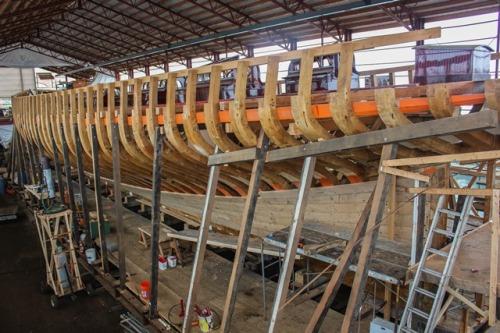 The Yacht Coronet undergoing restoration at IYRS Newport RI