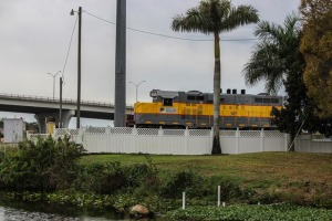 The Sugar Train waiting to cross the Caloosahatchee River in Moore Haven FL.